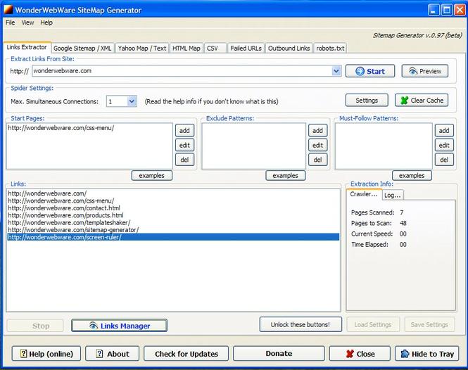 Sitemap Generator - бесплатная программа, которая способна автоматически со